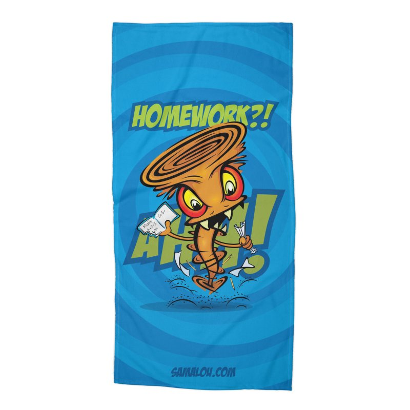 Homework Twister Accessories Beach Towel by Samalou - The Art and Illustrations of Lou Simeone