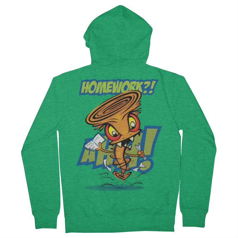 Homework Twister Women's French Terry Zip-Up Hoody by Samalou - The Art and Illustrations of Lou Simeone