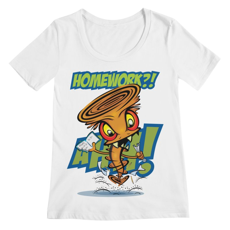 Homework Twister Women's Scoopneck by Samalou - The Art and Illustrations of Lou Simeone
