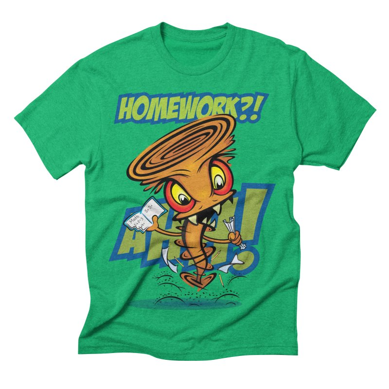 Homework Twister Men's Triblend T-shirt by Samalou - The Art and Illustrations of Lou Simeone