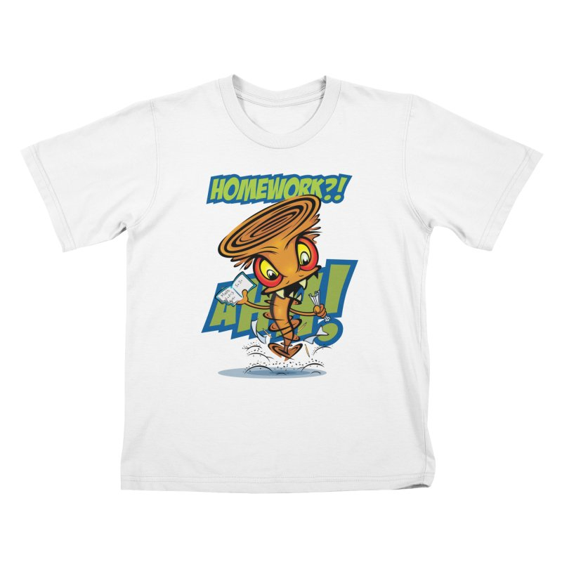 Homework Twister Kids T-Shirt by Samalou - The Art and Illustrations of Lou Simeone