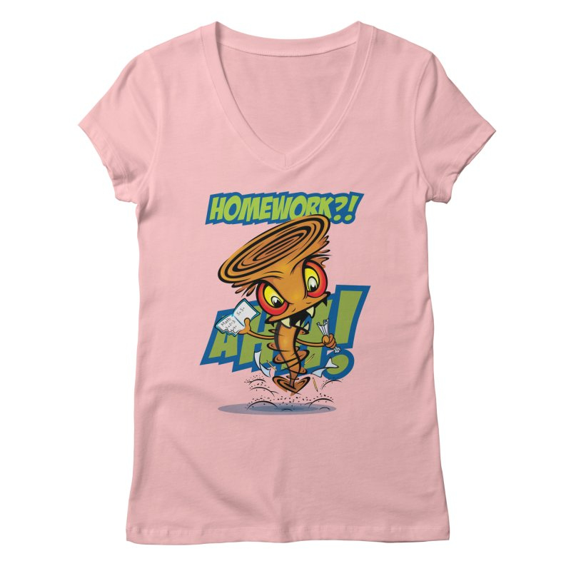 Homework Twister Women's V-Neck by Samalou - The Art and Illustrations of Lou Simeone