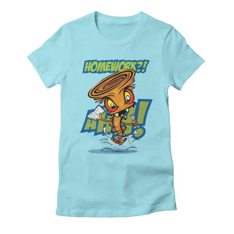 Homework Twister Women's Fitted T-Shirt by Samalou - The Art and Illustrations of Lou Simeone
