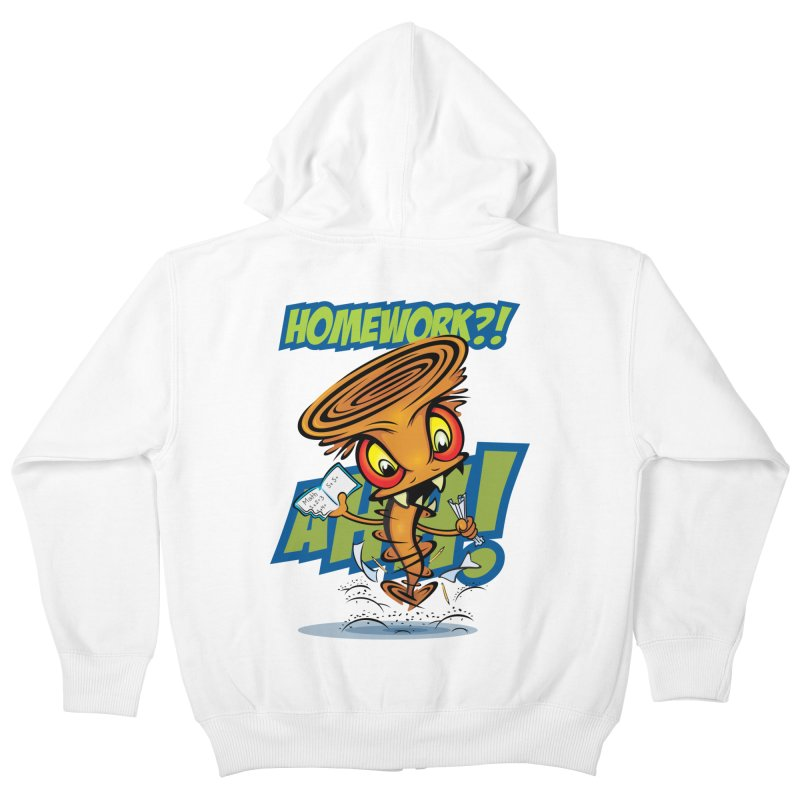 Homework Twister Kids Zip-Up Hoody by Samalou - The Art and Illustrations of Lou Simeone
