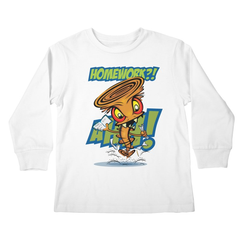 Homework Twister Kids Longsleeve T-Shirt by Samalou - The Art and Illustrations of Lou Simeone