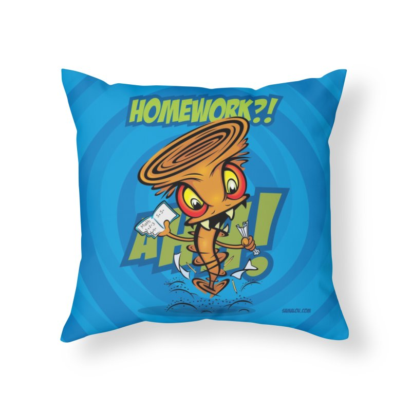 Homework Twister Home Throw Pillow by Samalou - The Art and Illustrations of Lou Simeone