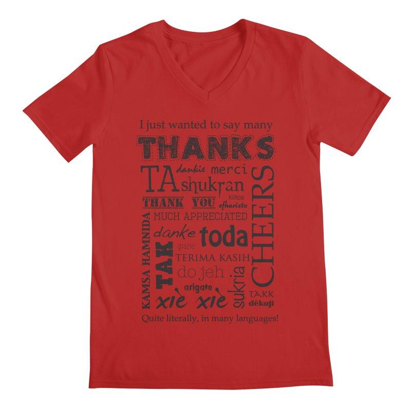 Many Thanks Men's V-Neck by samanthalilley's Artist Shop