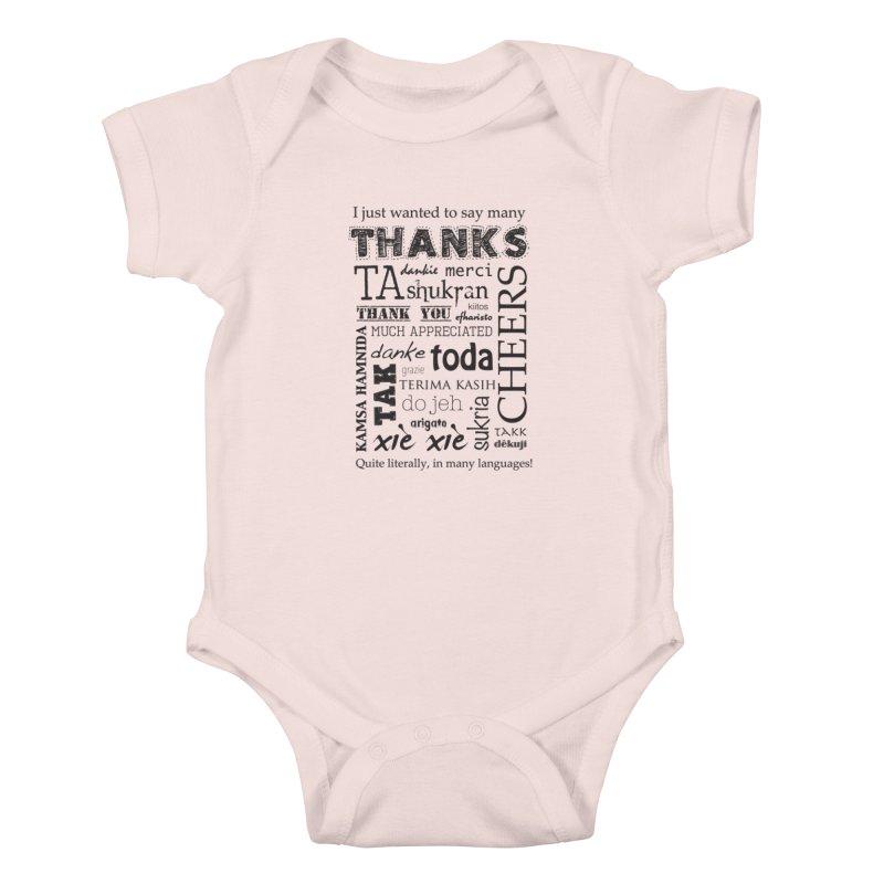 Many Thanks Kids Baby Bodysuit by samanthalilley's Artist Shop