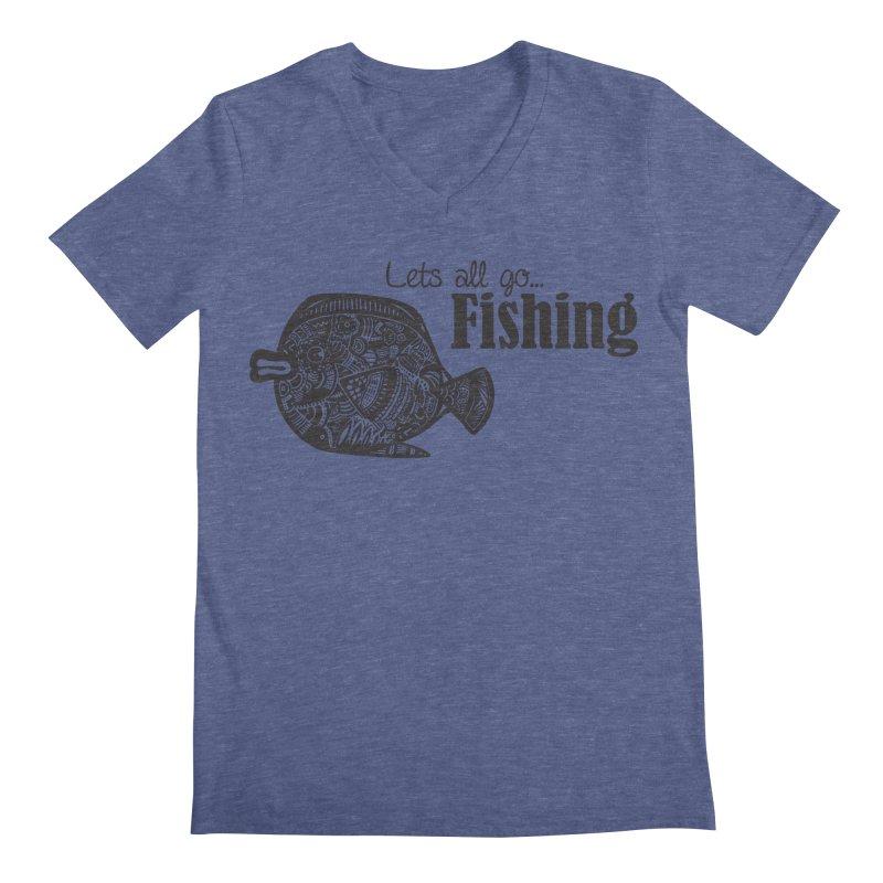 Let's all go fishing... Men's V-Neck by samanthalilley's Artist Shop