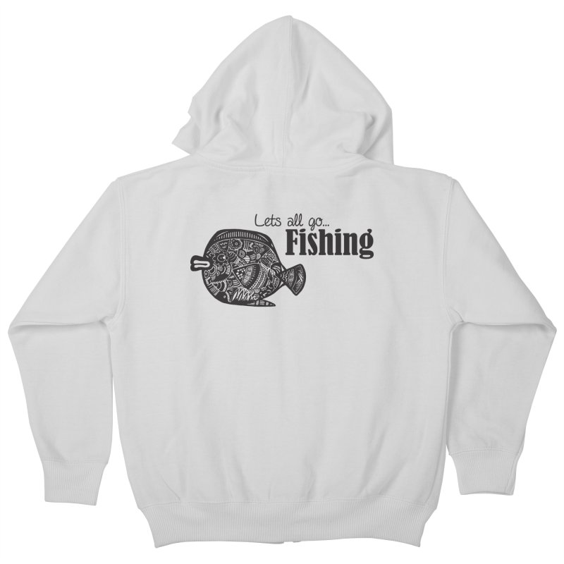 Let's all go fishing... Kids Zip-Up Hoody by samanthalilley's Artist Shop