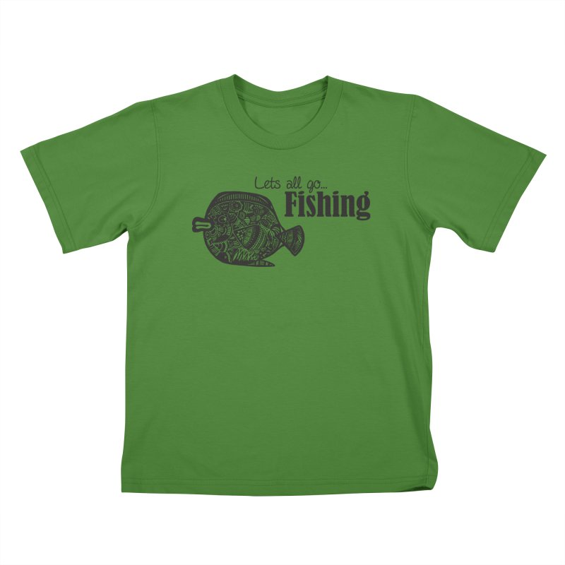 Let's all go fishing... Kids T-shirt by samanthalilley's Artist Shop