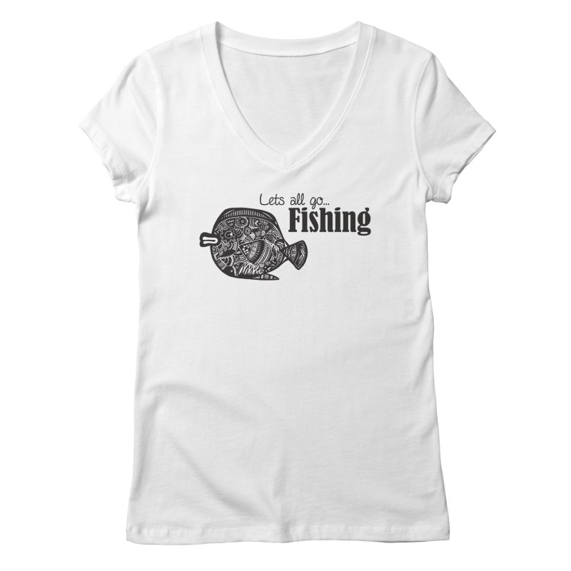Let's all go fishing... Women's V-Neck by samanthalilley's Artist Shop