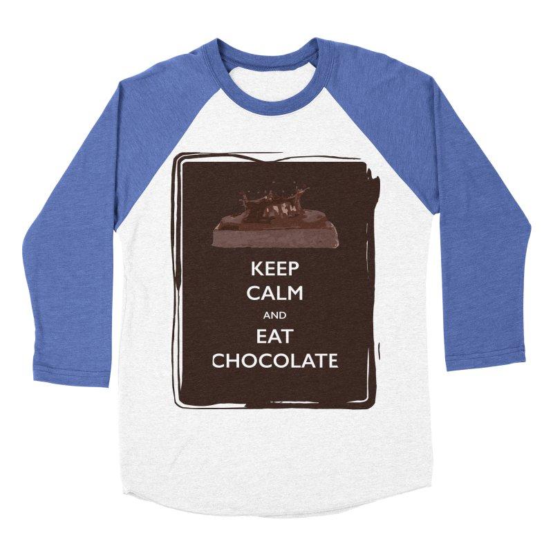 Keep Calm & Eat Chocolate Men's Baseball Triblend T-Shirt by samanthalilley's Artist Shop