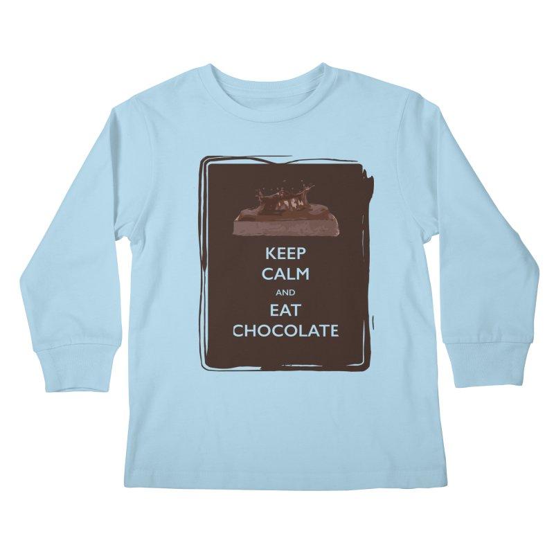 Keep Calm & Eat Chocolate Kids Longsleeve T-Shirt by samanthalilley's Artist Shop