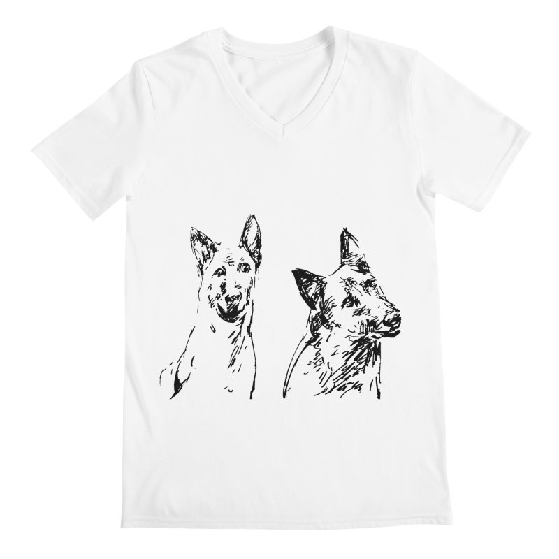 Two Dogs Men's V-Neck by Dmitry Samarov's Artist Shop