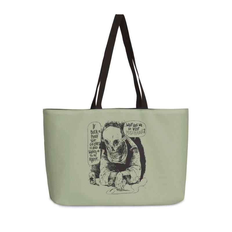 Miserable  Accessories Weekender Bag Bag by Sam Heimer
