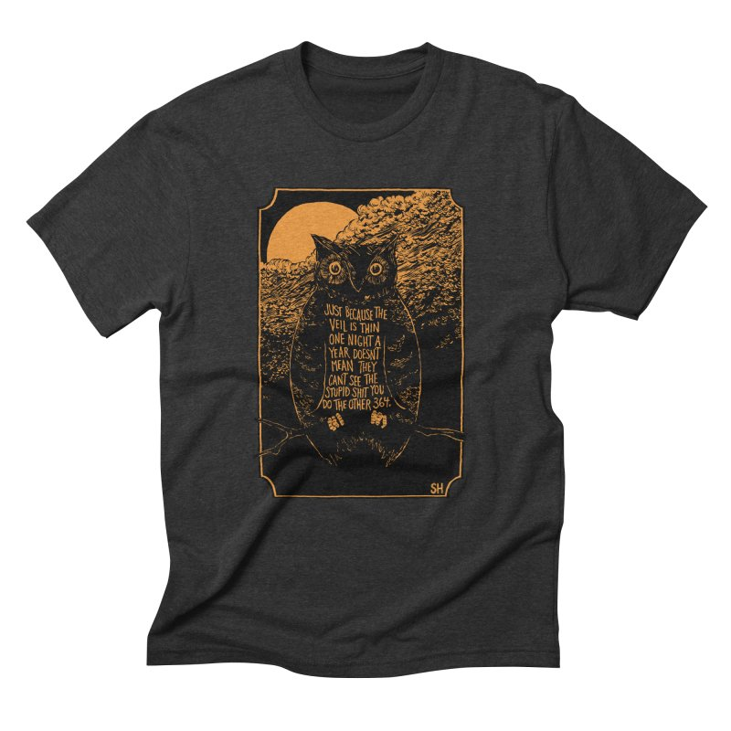 Shame Owl Men's Triblend T-Shirt by Sam Heimer