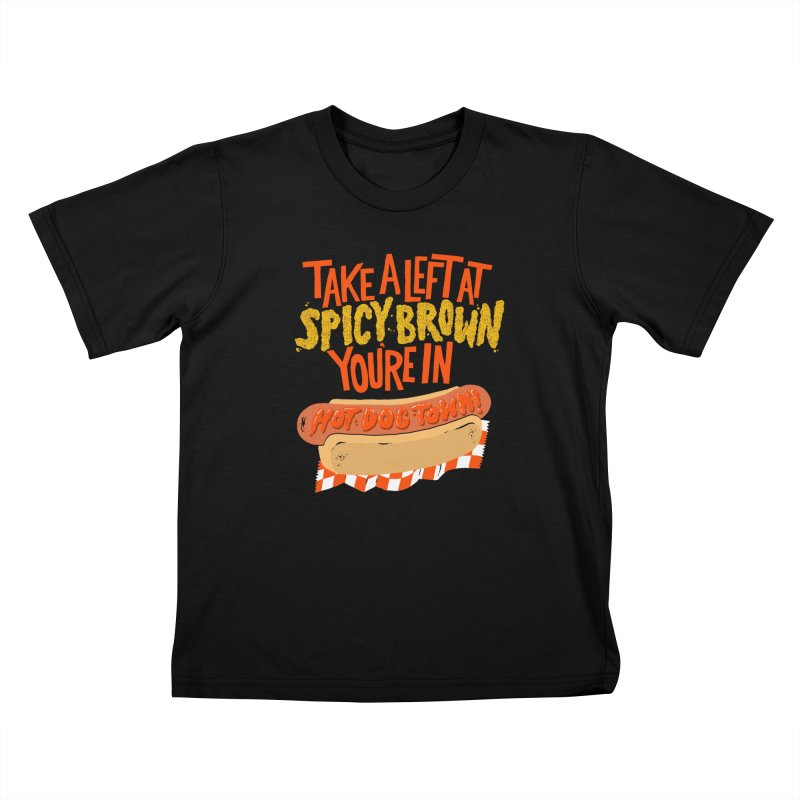 Hot Dog Town Kids T-Shirt by Sam Heimer