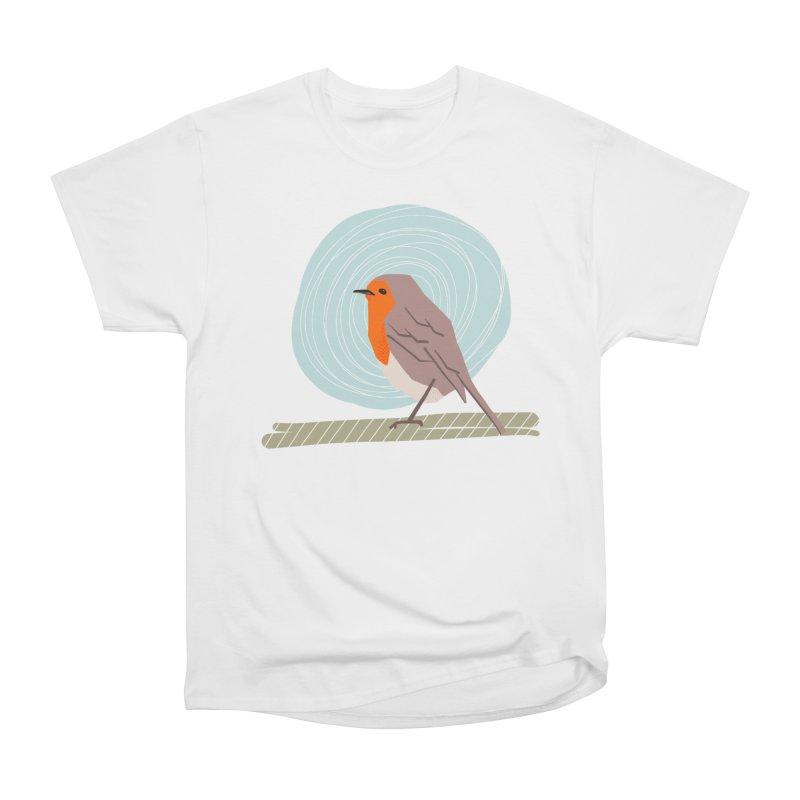 Happy Robin Men's Heavyweight T-Shirt by Sam Osborne Store