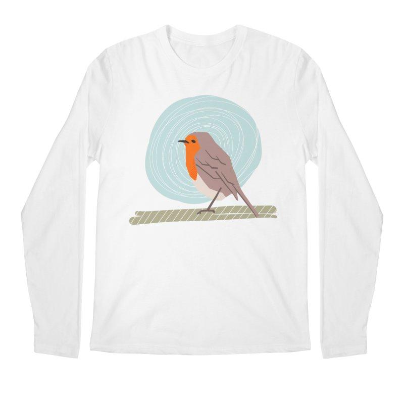Happy Robin Men's Regular Longsleeve T-Shirt by Sam Osborne Store