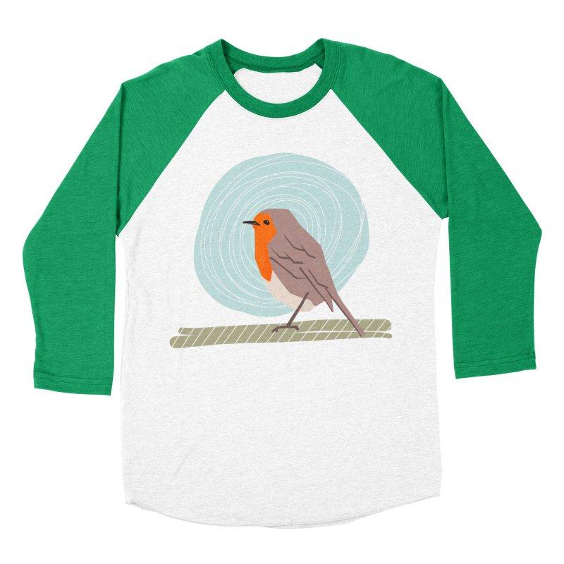 Happy Robin Men's Baseball Triblend Longsleeve T-Shirt by Sam Osborne Store
