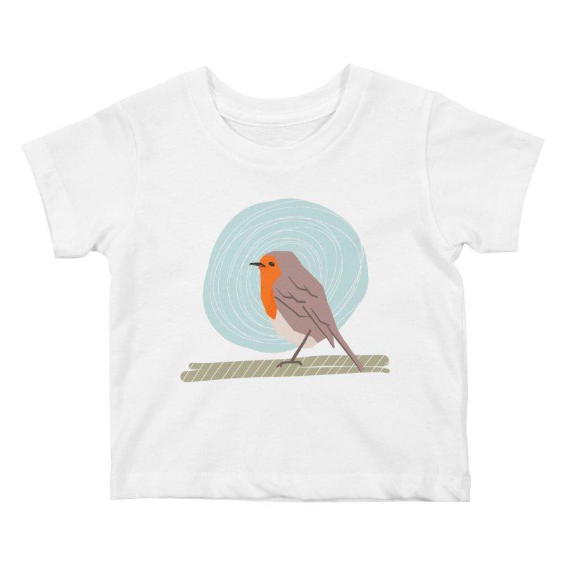 Happy Robin Kids Baby T-Shirt by Sam Osborne Store