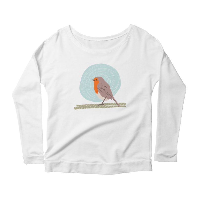Happy Robin Women's Scoop Neck Longsleeve T-Shirt by Sam Osborne Store