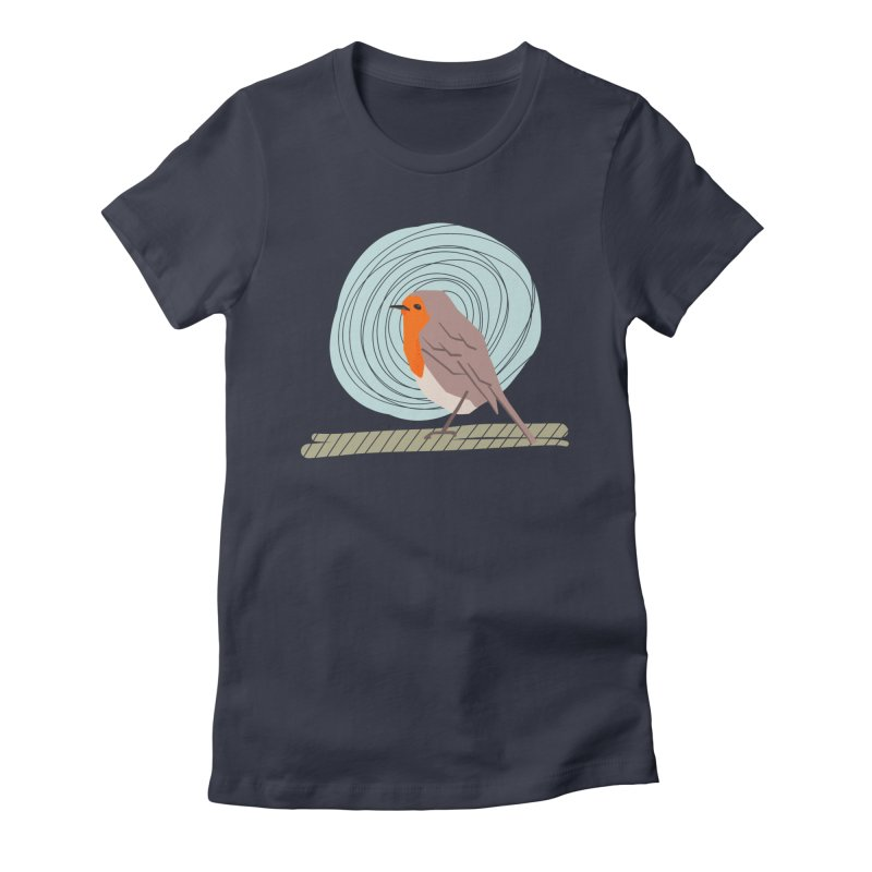 Happy Robin Women's Fitted T-Shirt by Sam Osborne Store