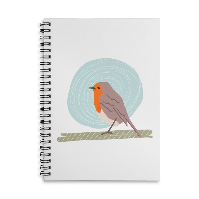 Happy Robin Accessories Lined Spiral Notebook by Sam Osborne Store