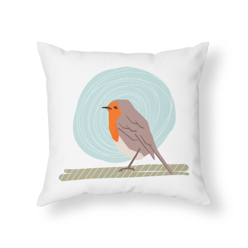 Happy Robin Home Throw Pillow by Sam Osborne Store