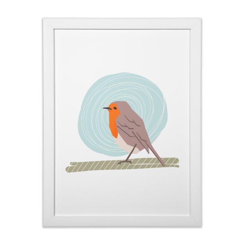 Happy Robin Home Framed Fine Art Print by Sam Osborne Store