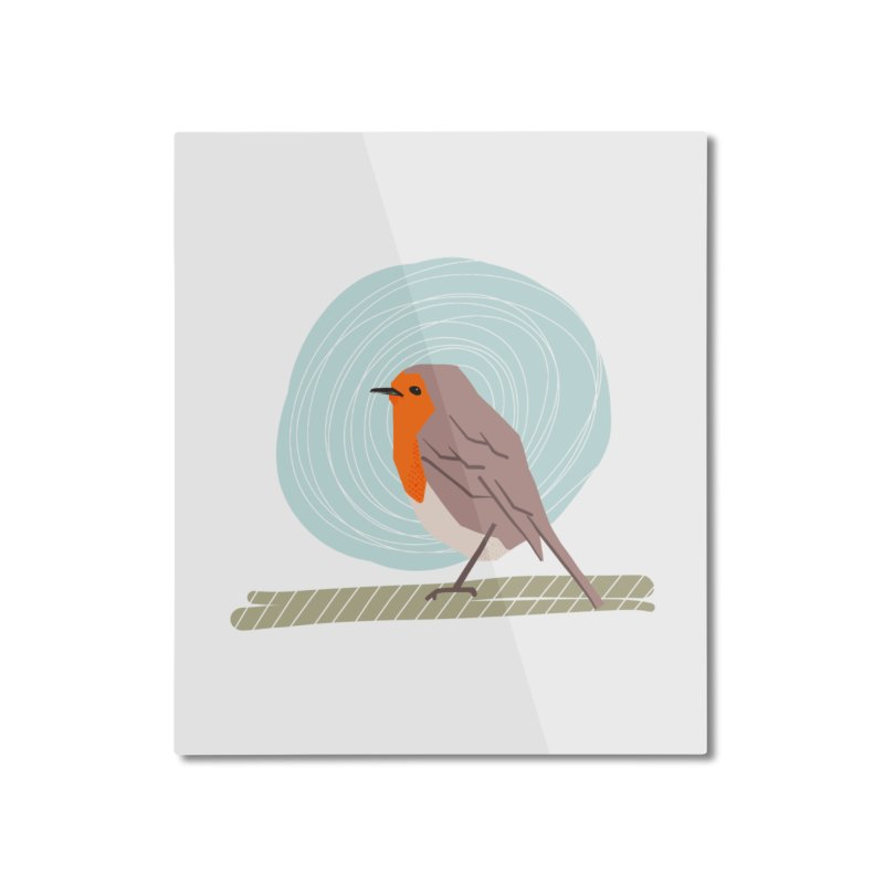 Happy Robin Home Mounted Aluminum Print by Sam Osborne Store