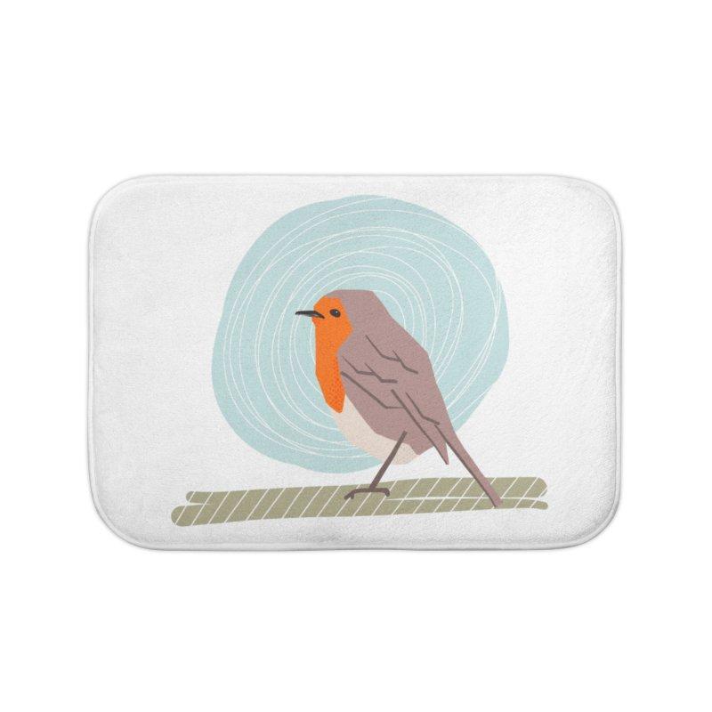 Happy Robin Home Bath Mat by Sam Osborne Store