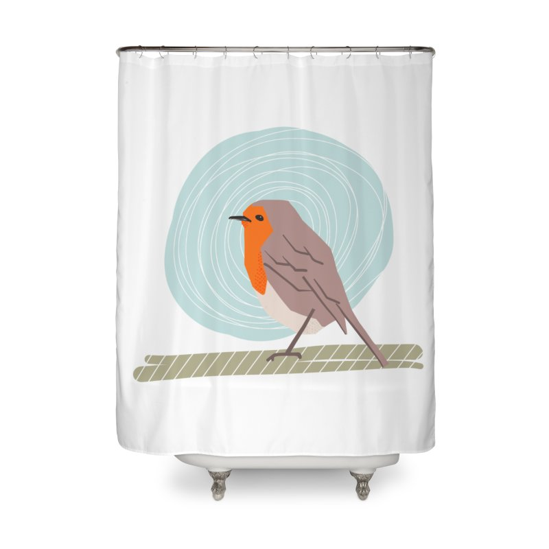 Happy Robin Home Shower Curtain by Sam Osborne Store