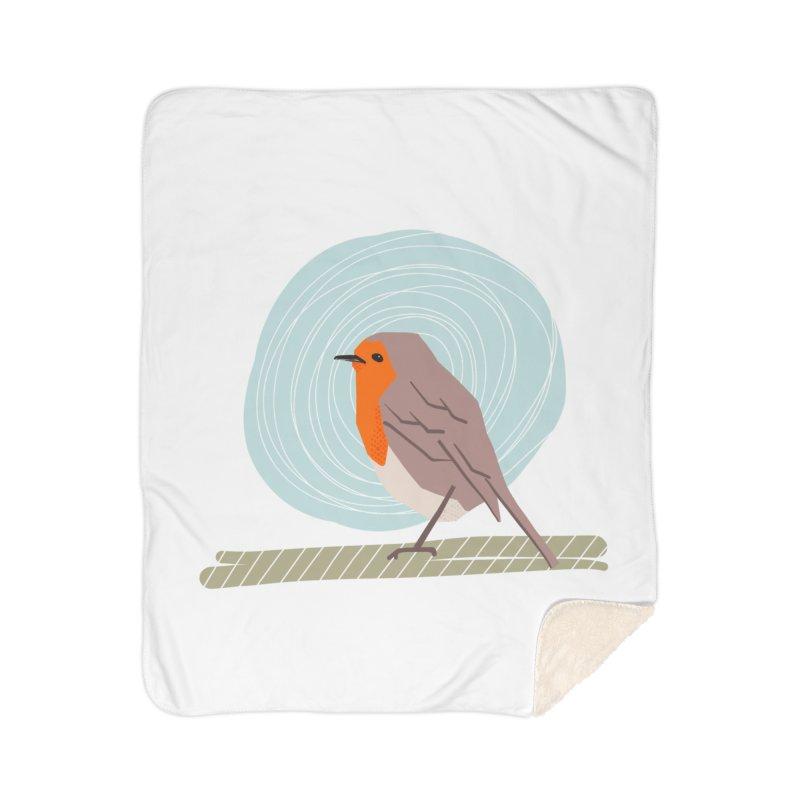 Happy Robin Home Sherpa Blanket Blanket by Sam Osborne Store