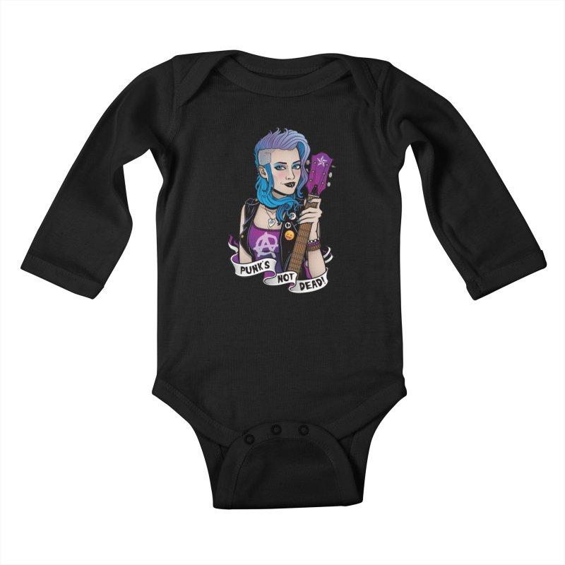 Punk's Not Dead Kids Baby Longsleeve Bodysuit by Sam Phillips Illustration