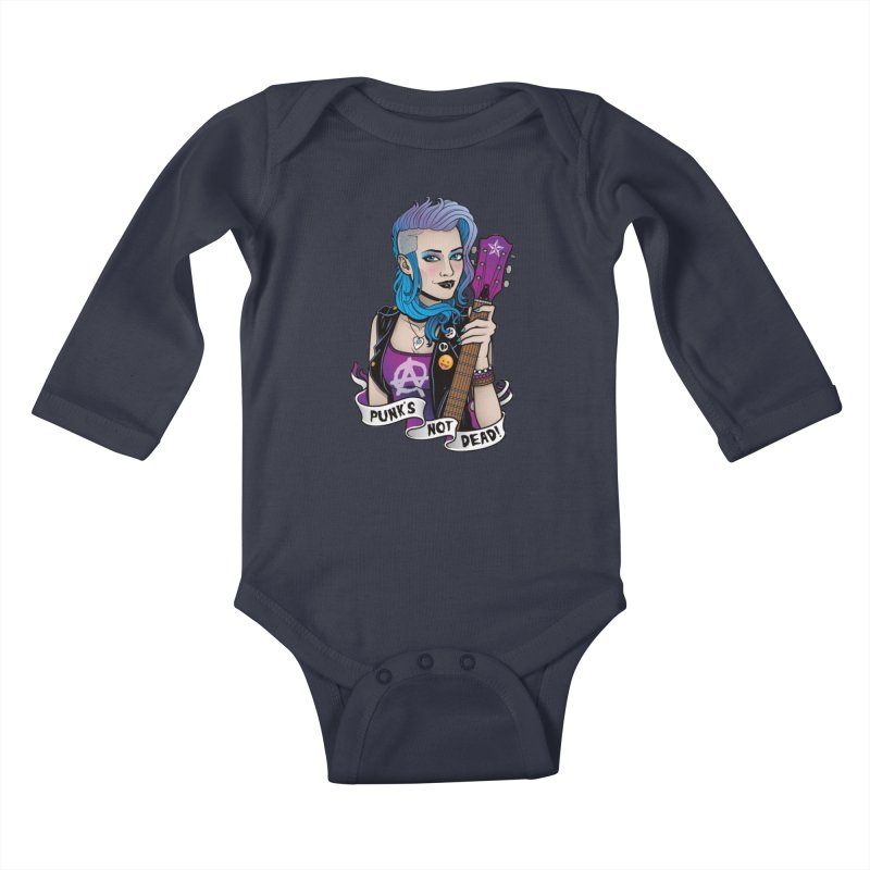 Punk's Not Dead Kids Baby Longsleeve Bodysuit by Sam Phillips Illustration