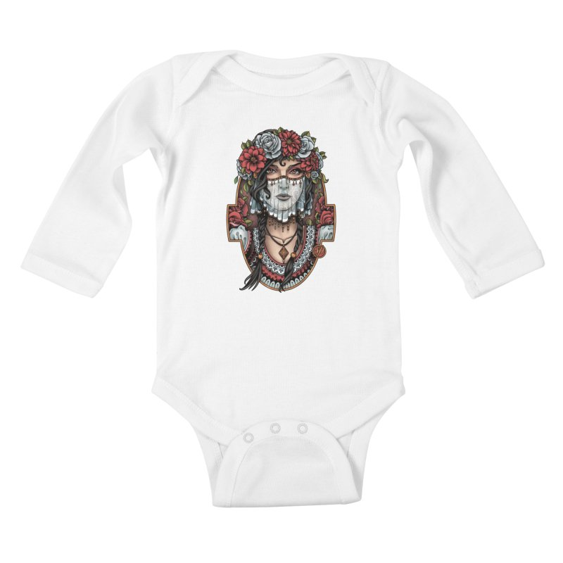Beautiful Bride Kids Baby Longsleeve Bodysuit by Sam Phillips Illustration