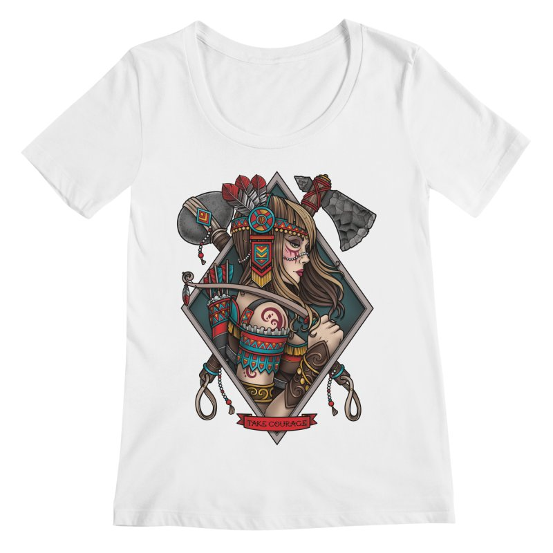 Take Courage Women's Scoopneck by Sam Phillips Illustration