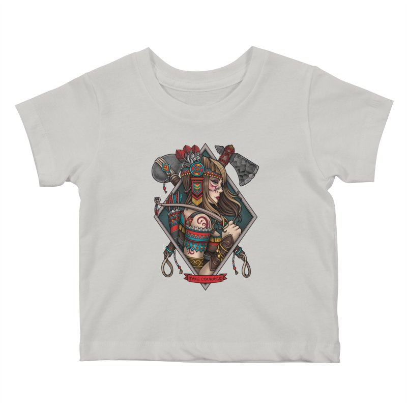 Take Courage Kids Baby T-Shirt by Sam Phillips Illustration