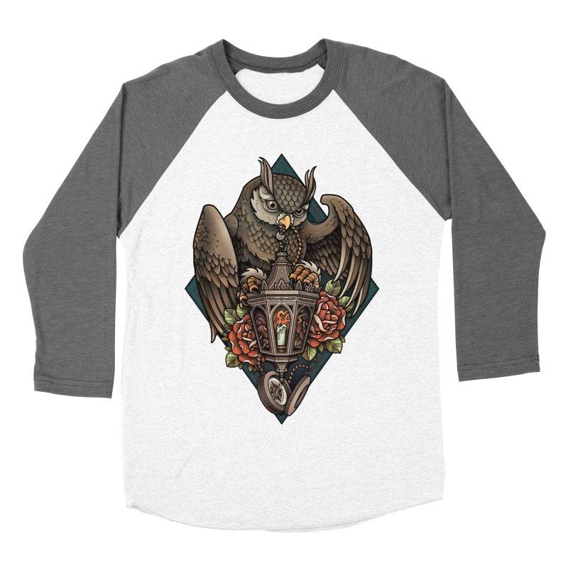 Owl Lantern Men's Baseball Triblend T-Shirt by Sam Phillips Illustration