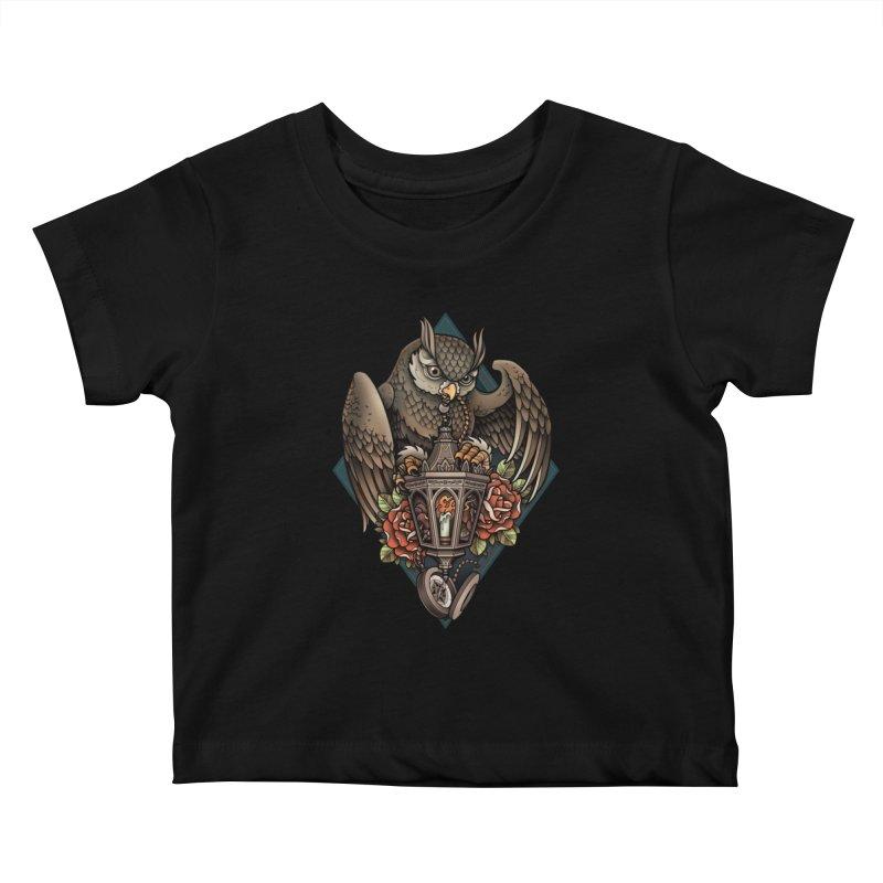 Owl Lantern Kids Baby T-Shirt by Sam Phillips Illustration