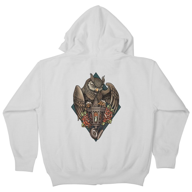 Owl Lantern Kids Zip-Up Hoody by Sam Phillips Illustration
