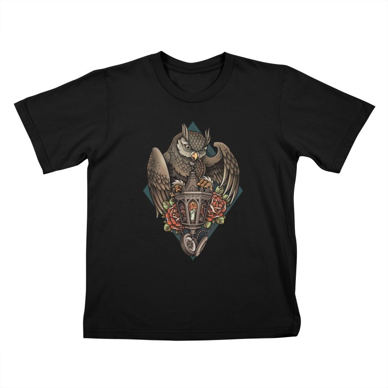 Owl Lantern Kids T-shirt by Sam Phillips Illustration