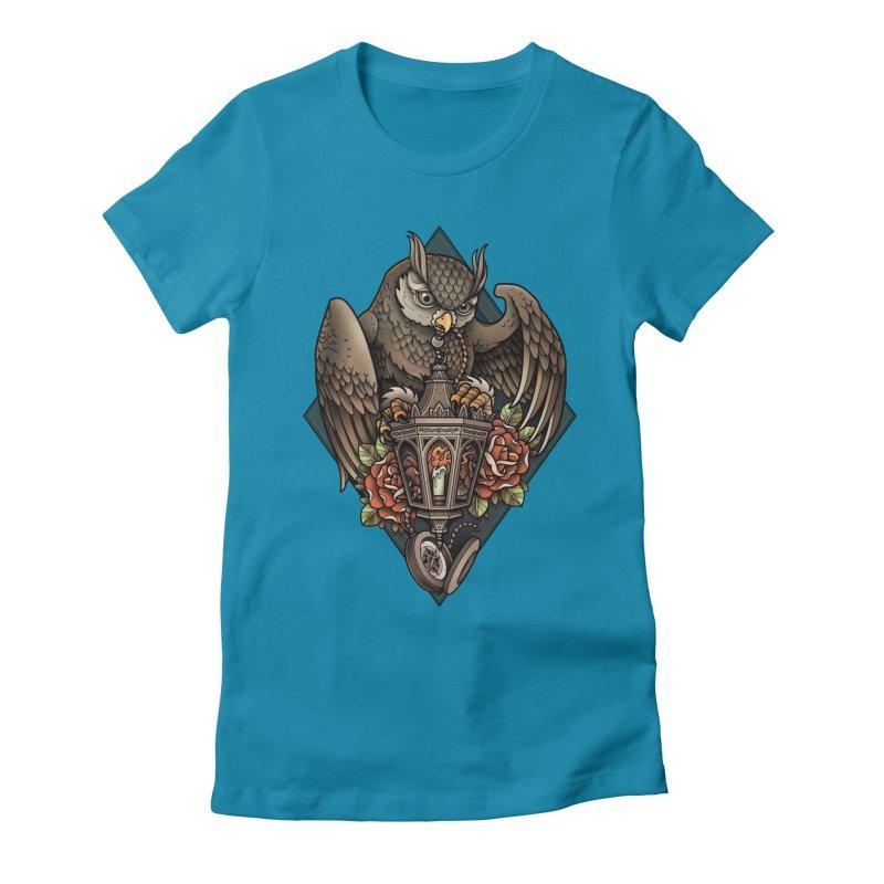 Owl Lantern Women's Fitted T-Shirt by Sam Phillips Illustration