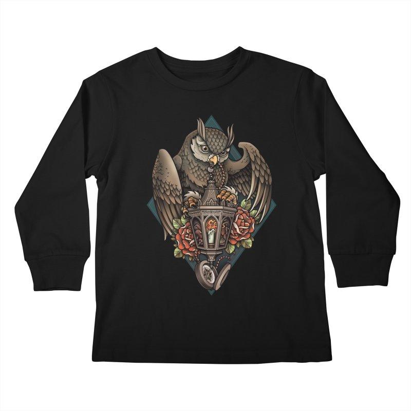 Owl Lantern Kids Longsleeve T-Shirt by Sam Phillips Illustration