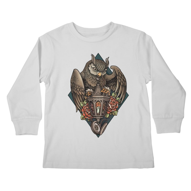 Owl Lantern Kids Longsleeve T-Shirt by Sam Phillips Illustration