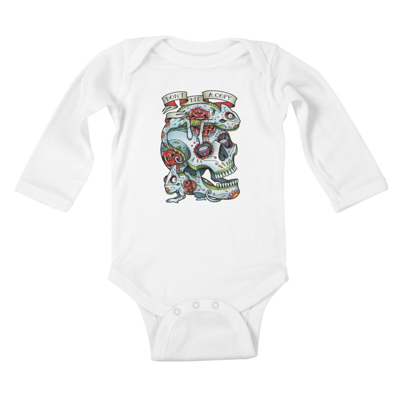 Don't Die A Copy Kids Baby Longsleeve Bodysuit by Sam Phillips Illustration