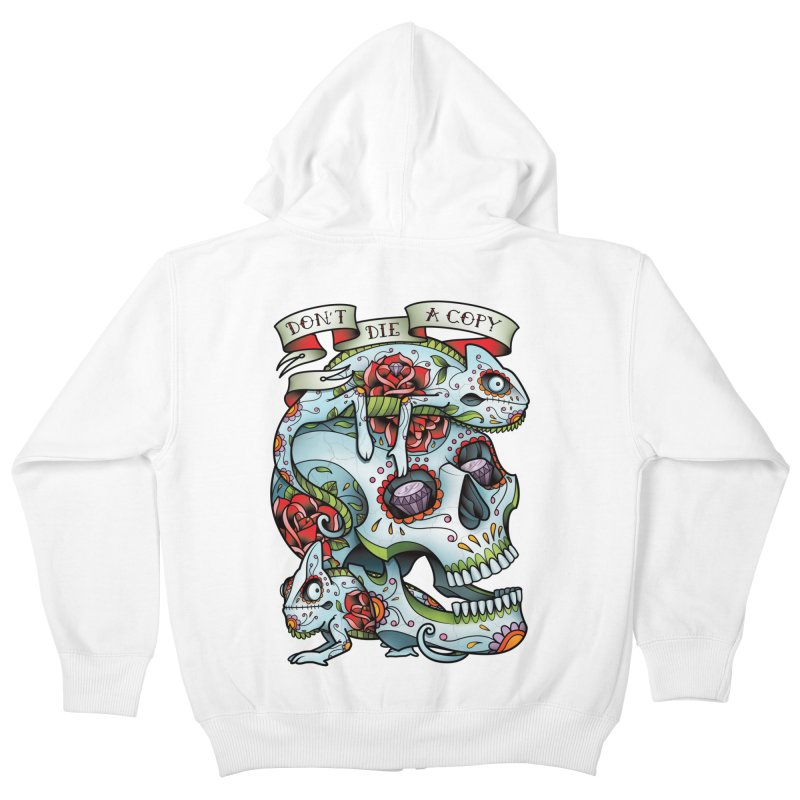 Don't Die A Copy Kids Zip-Up Hoody by Sam Phillips Illustration
