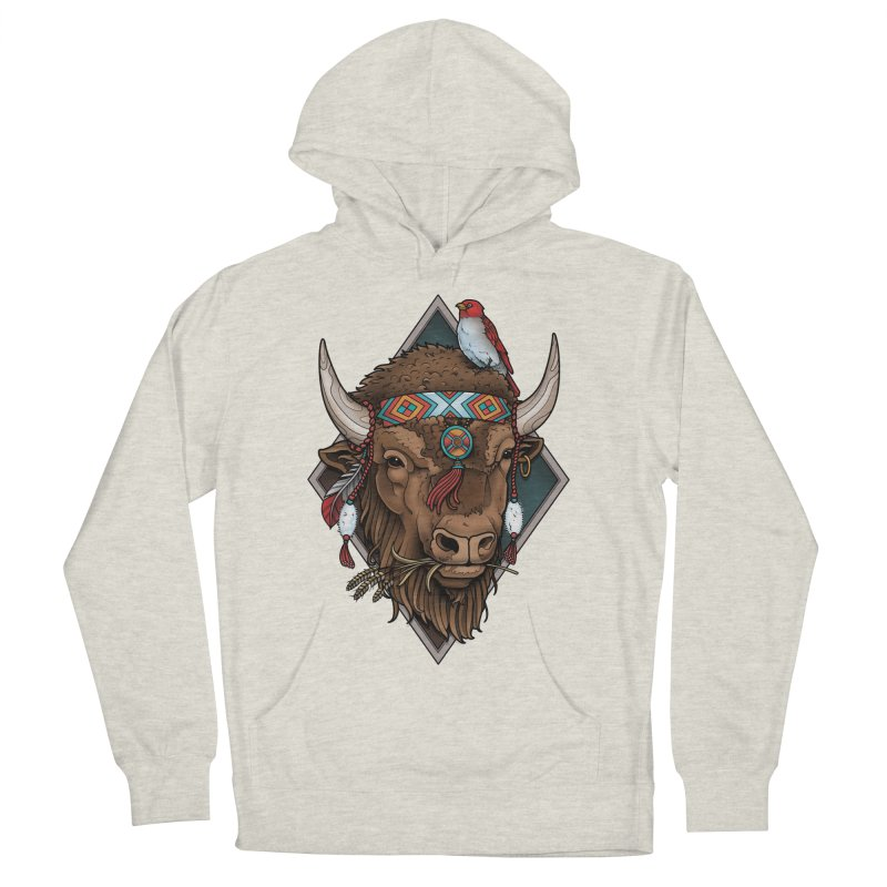 Buffalo Men's Pullover Hoody by Sam Phillips Illustration